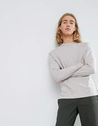 Asos Design DESIGN relaxed fit roll long sleeve t-shirt in grey