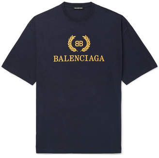 Balenciaga Logo-Print Cotton-Jersey T-Shirt - Men - Navy
