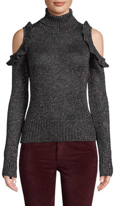 Jill Stuart Metallic Cold-Shoulder Sweater