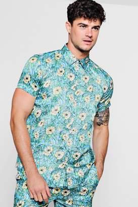 boohoo Floral Print Short Sleeve Satin Shirt