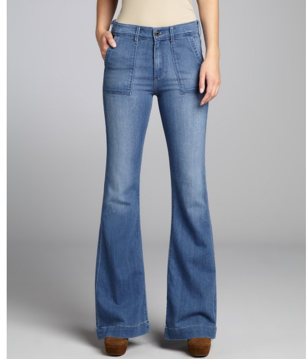 AG Adriano Goldschmied light danube blue stretch cotton 'Goldie' bell bottom jeans