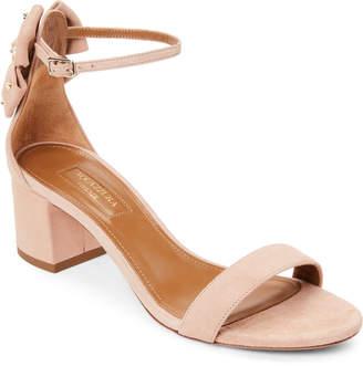 Aquazzura Powder Pink Siena Suede Ankle Strap Pumps