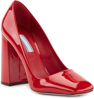 Prada Block-Heel Square Patent Pumps