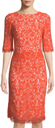 Carolina Herrera Half-Sleeve Lace Sheath Dress, Coral