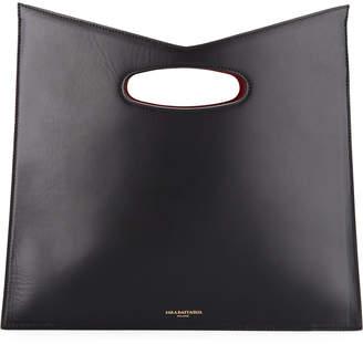 Sara Battaglia Bustina Leather V-Top Clutch Bag