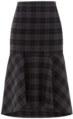 Balenciaga Fluted Checked Twill Midi Skirt - Womens - Grey Multi
