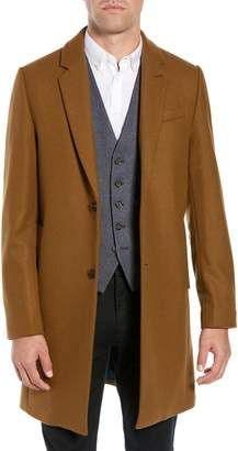 Ted Baker Falo Slim Fit Pin Dot Wool Blend Topcoat