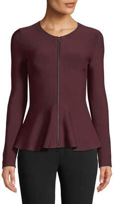 Theory Marl Crewneck Zip-Front Glossed Peplum Jacket