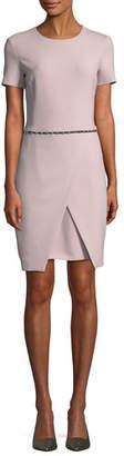 Emporio Armani Short-Sleeve Round-Neck Faux-Wrap Dress w/ Studded Trim