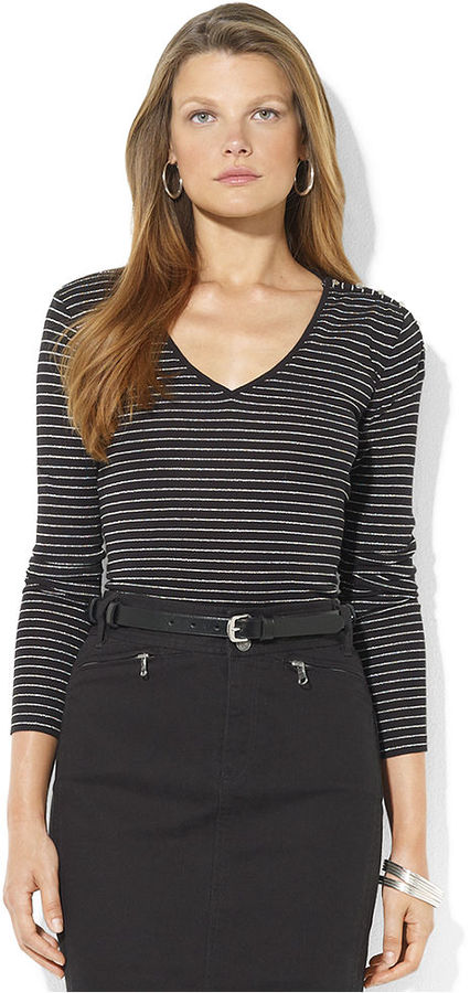 Lauren Ralph Lauren Top, Long-Sleeve Metallic Striped V-Neck