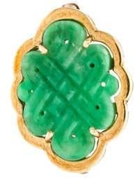 14K Carved Jade Brooch