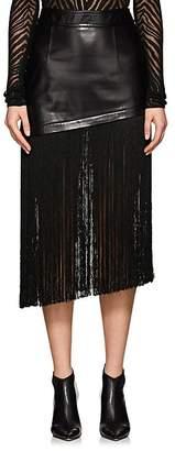 Helmut Lang Women's Fringe-Trimmed Leather Asymmetric Miniskirt