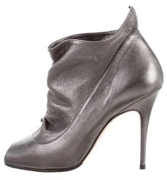 Manolo Blahnik Metallic Peep-Toe Ankle Boots