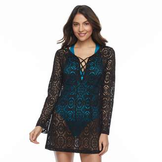 Women's Beach Scene Crochet Lace-Up Cover-Up