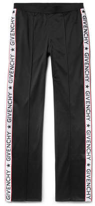 Givenchy Rubber-Appliquéd Fleece-Back Satin-Jersey Trousers