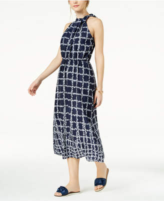 Maison Jules Printed Neck-Tie Midi Dress, Created for Macy's