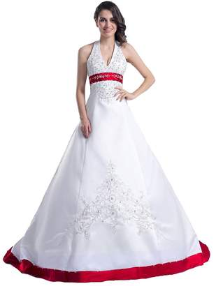 Edaier Women's Beaded Halter Embroidery Satin Wedding Dress Vintage Bride Gown Size 18