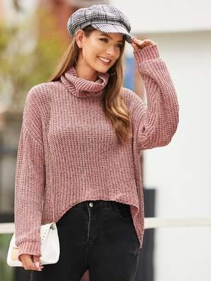 Shein High Low Hem Turtleneck Sweater