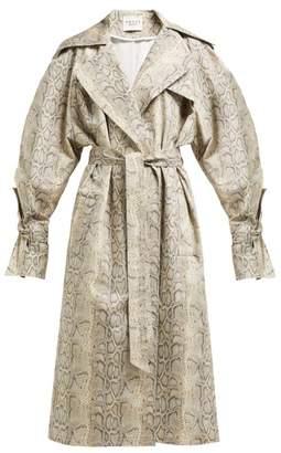 A.W.A.K.E. Mode Dana Python Print Cotton Blend Trench Coat - Womens - Beige Print