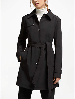 Ralph Tie Waist Short Trench Coat, Black