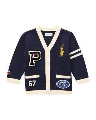 Ralph Lauren V-Neck Cardigan Sweater w/ Logo Patches, Size 6-24 Months