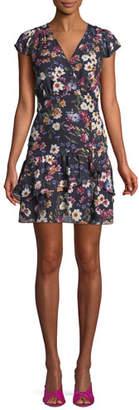 Parker Sloane Ruffle Floral-Print Short Dress