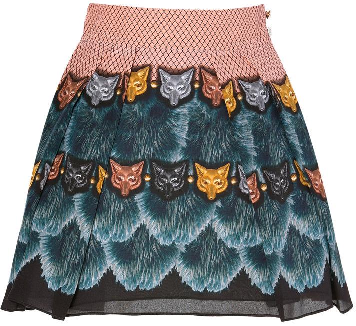 Vassilisa Beige-Multi Fox Mask Print Silk Mini-Skirt