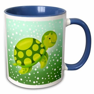 Green Baby 3dRose Cute Turtle Swimming in a Cloud of Bubbles - Two Tone Blue Mug, 11-ounce