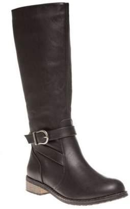 Firetrap New Womens Black Dressage Synthetic Boots Knee-High Buckle Zip
