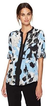 Calvin Klein Women's Print Roll Sleeve Top with Block and Zip,XS