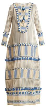 Dodo Bar Or - Samuelle Striped Cotton Maxi Dress - Womens - Blue