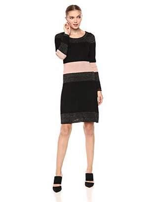 Taylor Dresses Women's Horizontal Stripe Sweat Dress with Metallic Detail