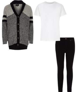 River Island Boys grey cardigan and skinny jeans outfit