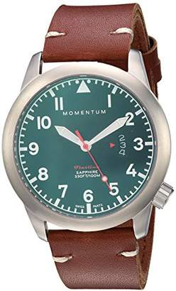 Momentum Men's 'Flatline 42' Quartz Stainless Steel and Leather Casual Watch
