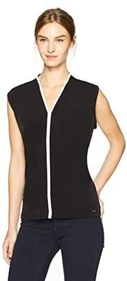 Calvin Klein Women's Sleeveless Matte Jersey V-Neck Top Piping