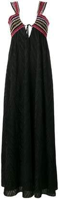 M Missoni embroidery long v-neck dress