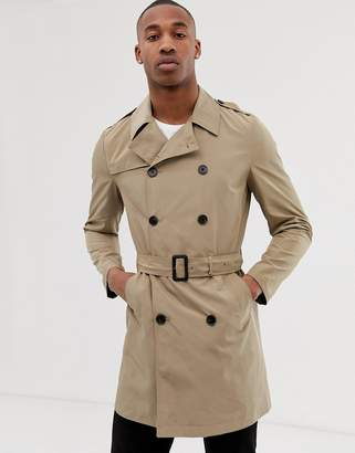 Asos Design DESIGN shower resistant trench coat in stone