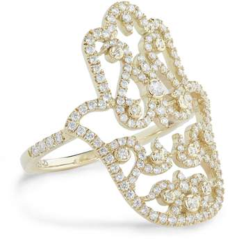 Djula Yellow Gold and Diamond Arabic Hamza Ring