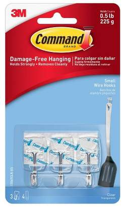 clear Command Small Sized Wire Hooks with Strips (3 Hooks 4 Strips)