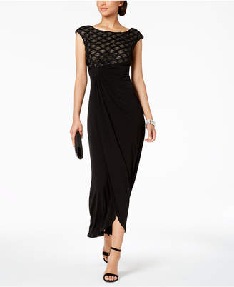 Connected Glitter Illusion Draped Gown