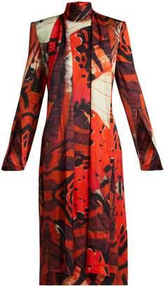 Alexander McQueen Silk-satin butterfly-print dress