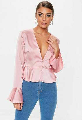 Missguided Petite Pink Button Front Blouse