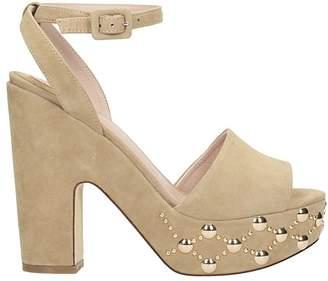 Julie Dee Platform Sand Suede Sandals