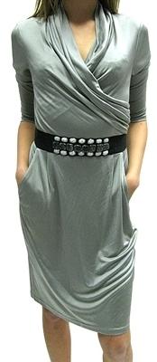 Catherine Malandrino - Women's Silver Silk w/ Stones Dress