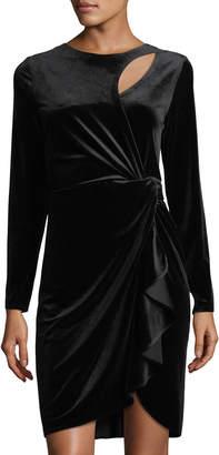 Tahari ASL Long-Sleeve Velvet Dress