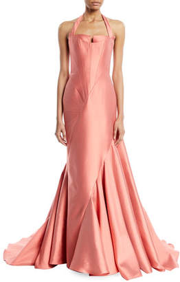 Rubin Singer Sleeveless Fitted Halter-Neck Evening Ball Gown w/ Sunburst Seaming