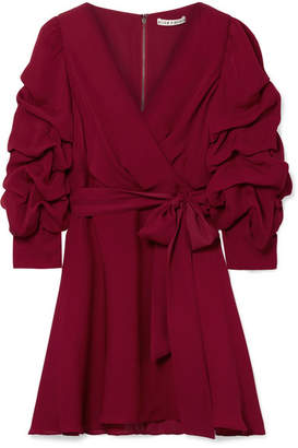 Alice + Olivia Alice Olivia - Santina Ruched Wrap-effect Silk Crepe De Chine Mini Dress - Burgundy