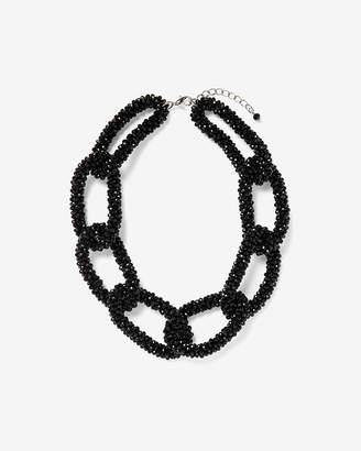 Express Short Black Link Beaded Necklace