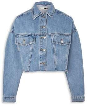 Topshop PETITE Hacked Off Cropped Denim Jacket