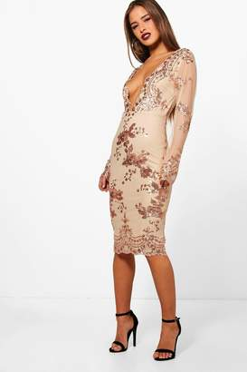 boohoo Petite Sequin And Mesh Long Sleeve Midi Dress